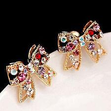 Hot Sale Colorful Crystal Rhinestone Gold Bowknot Bow Ear Stud Charm Earrings