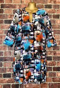 KAREN KANE Bold Print Knit Dress 3/4 Sleeves Lined Size L