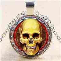 STEAMPUNK GOLDEN SKULL Cabochon Glass Tibet Silver Chain Pendant Necklace