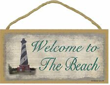 """Welcome to the Beach Sign with Lighthouse Plaque Nautical Decor 5""""x10"""""""