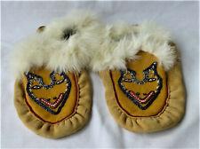 Vintage Beaded Native American Leather Moccasins w/ Rabbit Fur Trim - Adult Size