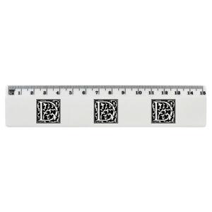'Decorative D' White Plastic Ruler (RL031198)