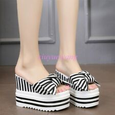 New Womens Stripe Bowknot Wedge High Heel Slippers Sandals Open Toe Summer Shoes