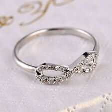 Love Romance Promise CZ Infinity Knot .925 Steling Silver Overlay Ring Size 7