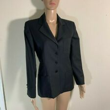 Womens Vintage Burberrys Wool Blazer Jacket Dark Gray 4