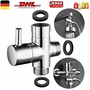 3-Wege Umsteller Umstellventil Umschaltventil Dusche Kopf T-adapter Edelstahl DE