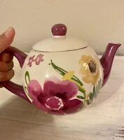 "Ceramic Handmade & Hand Painted Floral Tea Pot 9""x 7"""
