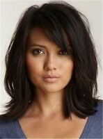 100% Real Hair!Loose Messy Lob Medium Wave Hair With Bangs Capless Wigs
