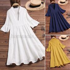 US STOCK Women Casual Beach Flare Sleeve A-Line Shirt Dress V-Neck Mini Sundress