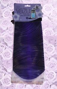 Vazu Purple Stripe Clear Flower Vase Flat Expandable Flex Dorm Office Travel
