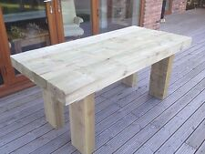 RUSTIC TABLE Solid Wooden Sleeper Outside Or Inside TABLE   /Garden Furniture