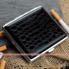 Black Leather Cigarette Case Box Hold For 18 Cigarettes 305B6