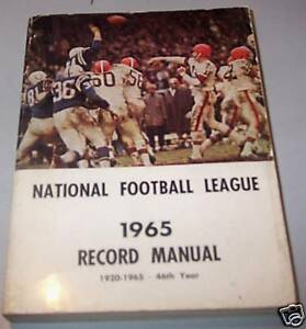 1965 NFL Records and Rules Manual Cleveland Browns