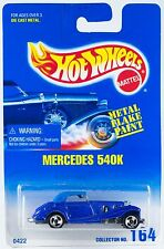Hot Wheels #164 Mercedes 540K Metal Flake Blue 3SP's 1995 New On Card