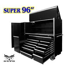 """GUFO 96"""" ROLLER CABINET CHEST SIDE LOCKER TOOL BOX TROLLEY GARAGE STORAGE BLK"""