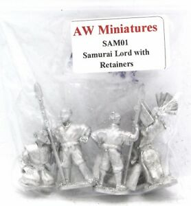 AW Miniatures SAM01 Samurai Lord with Retainers (16th Century Japan) Warrior