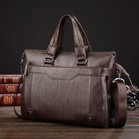 Mens Leather Business Briefcase Laptop Bag Shoulder Messenger Handbag