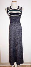 Vtg 70s JON-MICHEL Long Navy & Silver Metallic Sweater Knit Dress - Sz S