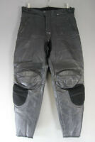 AARD WEAR BLACK LEATHER BIKER TROUSERS WITH KNEE ARMOUR: WAIST 36/INSIDE LEG 30""