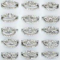 20Pcs Wholesale Mixed Lots Ring Jewelry Crystal Rhinestone Silver Plated Rings