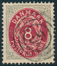 Denmark Scott 28a/AFA 25a, 8 øre pale gray/red Bicolour, fresh VF used GEM!