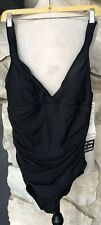 NWT Trimshaper Black 1-Piece One Piece Slimming Swimsuit Size 16