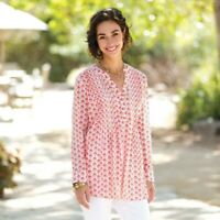 Gia Pink Cotton Pintuck Tunic - Small