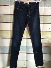 Abercrombie & Fitch SUPER SKINNY JEANS Size 2 Womens 26 x 31 Dark Embellished