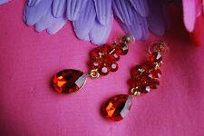 Dark Red Dangling Crystal Pierce Earrings in Gold-Plated Setting