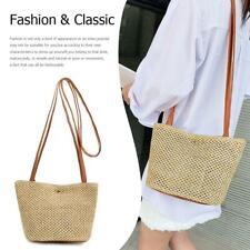 Women Brown Straw Weave Messenger Backpack Tote Shopping Beach Bag Purse Handbag