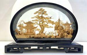 ⚜Sehr Große Filigrane Korkschnitzerei im Diorama Feng-Shui im Wohnraum 32x21 cm⚜