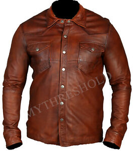 New Mens Shirt Jacket Brown Real Leather Soft Genuine Waxed Leather Shirt