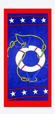 Blue Anchor Star Beach Towel, 100% Cotton Soft Quick Dry Turkish Bath Towel