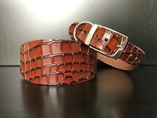 LARGE Leather Dog Collar Greyhound Lurcher Whippet MAHOGANY REPTILE PATTERN