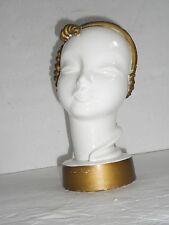 Art Nouveau CERAMIC Head ASIAN WOMAN ANTIQUE with Curls White Gold EUC