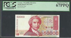 Croatia 50000 Dinara 30-5-1993 P26a Uncirculated Graded 67