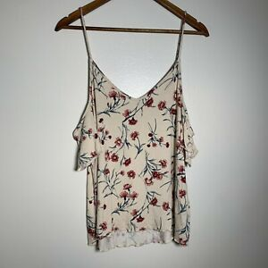 American Eagle Outfitters Women Ivory Floral Cold Shoulder Top Size Large