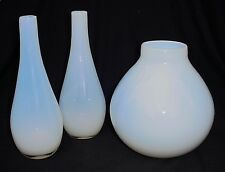 3 Italian Glass Opalescent Vases by Barovier Mid-Century Modern Statement Pieces