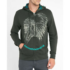DENIM & SUPPLY RALPH LAUREN MENS COTTON GRAPHIC FULL ZIP HOODIE BLACK SIZE LARGE