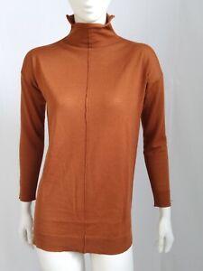 Maglione donna dolcevita 100% lana merino extrafine Tg S marrone ruggine