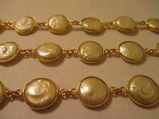 3 Ft Pearl 12 mm 22 KGP Brass Bezel Gemstone Chain Beautiful AA Quality PBC