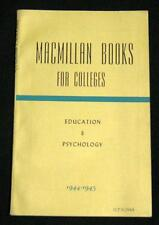 MACMILLAN BOOKS FOR COLLEGE CATALOG EDUCATION & PSYCHOLOGY 1944 WWII VINTAGE