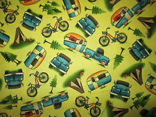 RETRO TRAILERS RV CAMPERS TRUCK BICYCLE YELLOW COTTON FABRIC BTHY