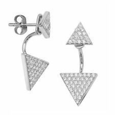 Genuine Solid Sterling Silver Pave Cubic Zirconia Triangle Stud Earring Jackets