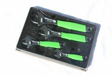 Snap On Tools Green Adjustable Wrench Set, 4pc. Flank Drive With Cushion Grips