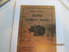 DeLaval Separator Alpha  Gas Engine Instruction/Operation  Manual