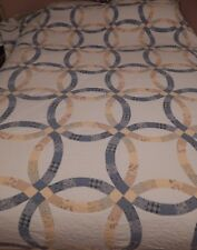 """100""""Wx82"""" Hand Pieced/Hand Quilted Wedding Ring Quilt~White, Blue and Yellow EXC"""