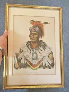 Native American Print Wa Pel La Chief of the Musquakees by  F.W. Greenough 1836