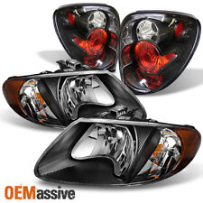 Fit 01-07 Dodge Caravan Black Amber Headlights + Rear Tail Lights Brake Lamps