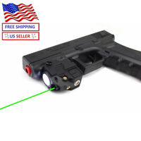 Sniper Green Laser Sight With LED Flashlight Picatinny Rail Rechargeable Pistol